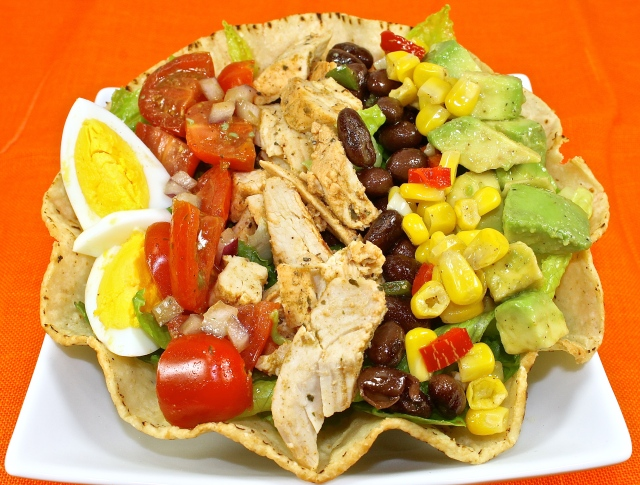 Southwestern Salad Served In A Crisp Tortilla Bowl