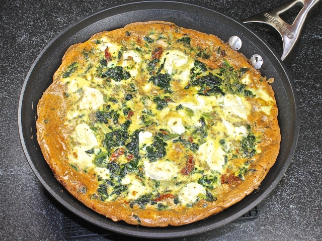 Spinach, Sun Dried Tomatoes and Goat Cheese Frittata Hot From The Oven