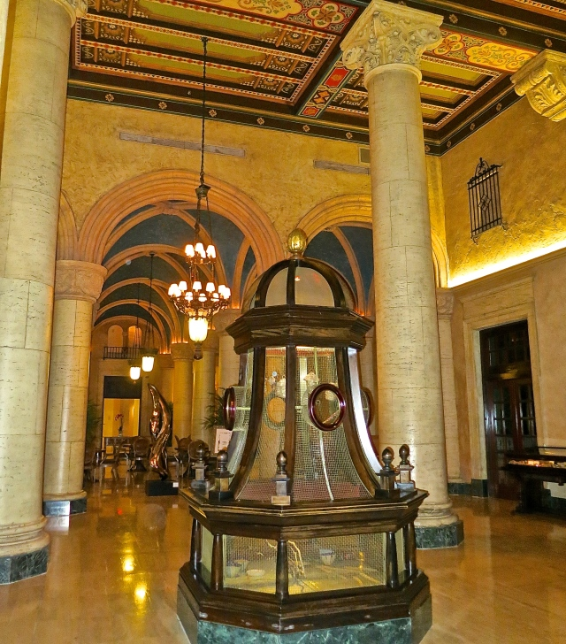 Nine Foot Tall Mahogany And Brass Birdcages In The Biltmore Lobby With Beautiful Painted Vaulted Ceiling