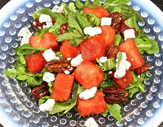 Watermelon Salad With Honey Spiced Pecans And Blue Cheese