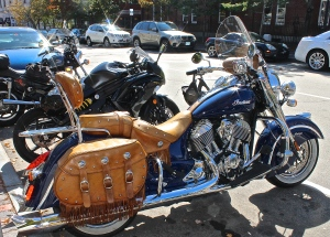 Nice Looking Indian Motorcycle Parked On The Street At Market Square