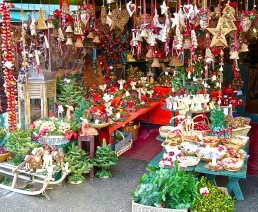 Decorations At A Christmas Stand At The Salzburg Christkindlmarkt