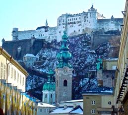 Hohensalzburg Fortress Perched High Above The Salzburg Christkindlmarkt