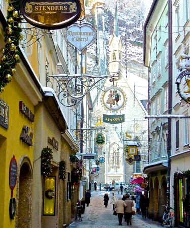 Snow Covered Shopping Street in Salzburg