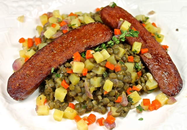 Warm Lentil Salad Topped With Merguez Sausage…A French Bistro Meal