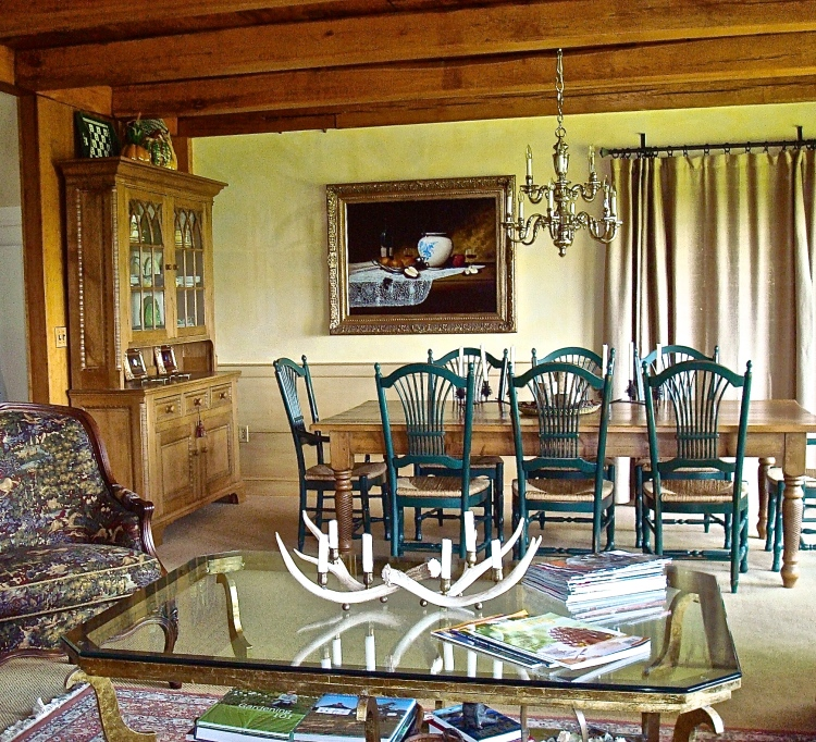 The Pine Table And Hutch Will Go To Our New Home But The Green Rush Seated Chairs Will Be Sold