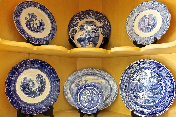 Collection Of Antique Blue And White Plates