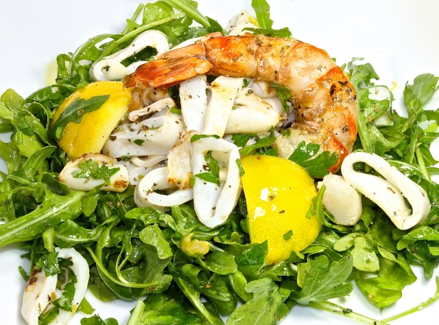 Seafood Salad On A Bed Of Arugula