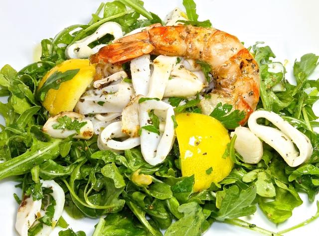 Seafood Salad On A Bed Of Arugula