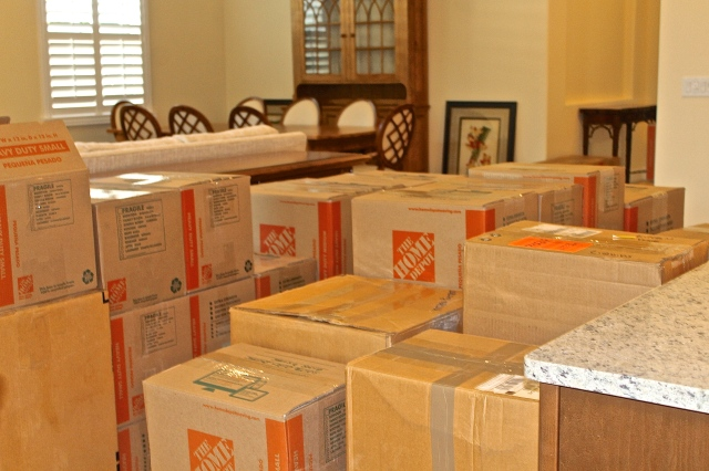 Moving Boxes Waiting To Be Unloaded…Oh No, Where Will It All Go!