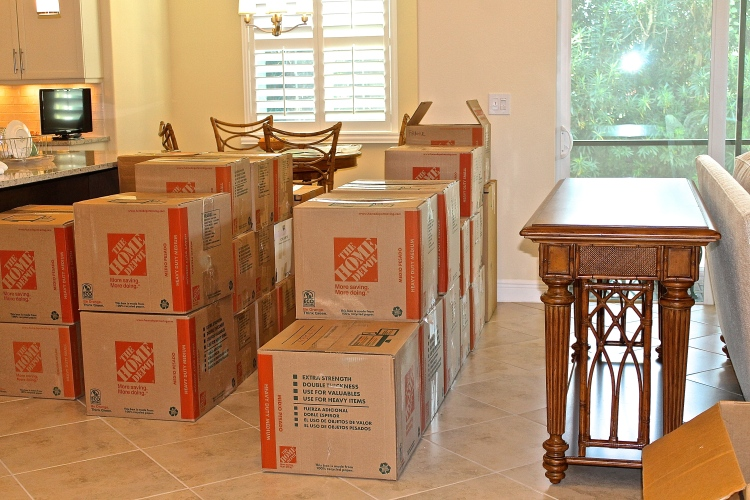 Moving Boxes For The Kitchen Waiting To Be Opened