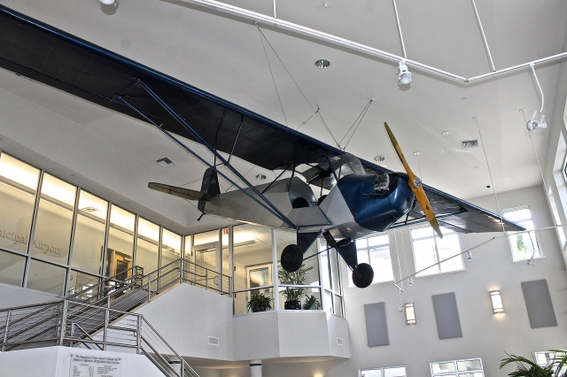 1935 Piper Cub Suspended From The Ceiling Of The Vero Beach Airport Terminal