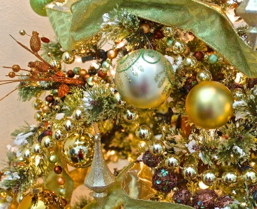 Flocked Christmas Tree Decorated In Chartreuse Green And Gold