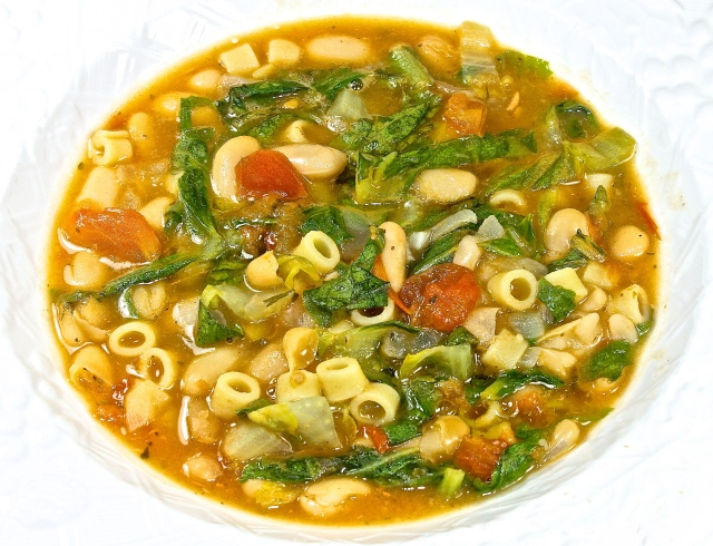 Ditalini Pasta With Beans And Greens, Or Minestra As Italians Would Call It
