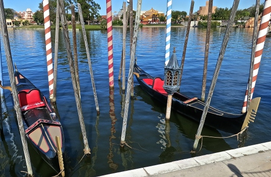 Gondolas Tied Up In The Lagoon At Epcot's Italy