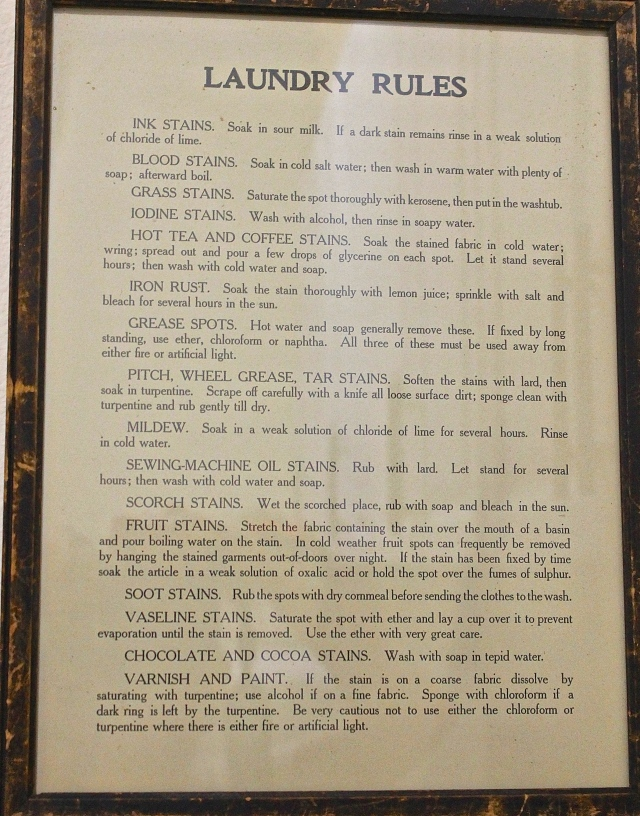 An Antique List Of Laundry Rules