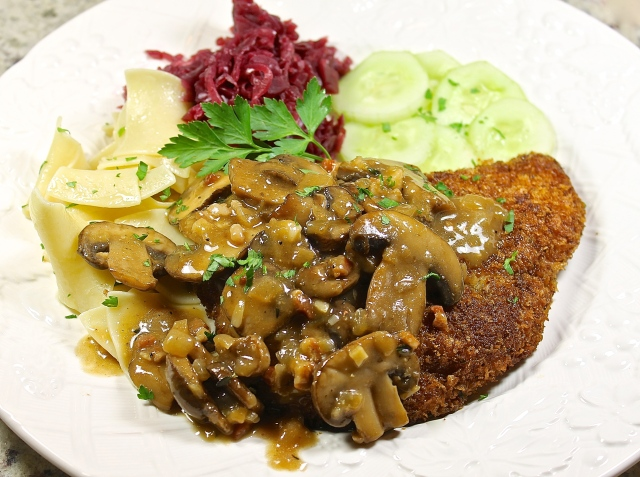 Jägerschnitzel, Pork Cutlet Topped With Mushroom Gravy