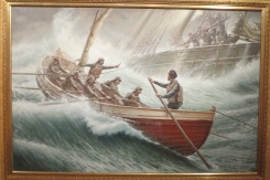 Painting Of Lifesaving Boat Rowing Out To Shipwreck