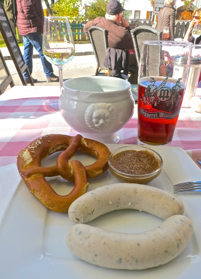 A Bavarian Snack Of Weisswurst, Sweet Mustard And A Pretzel