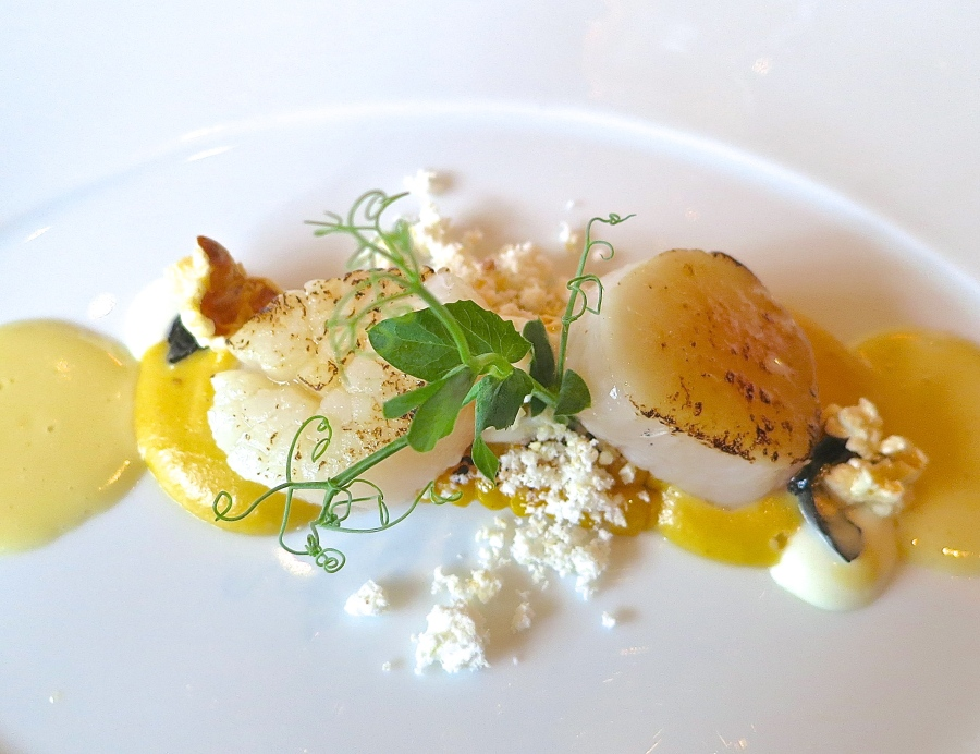 Flamed Scallop With Smoked Sweet Corn Cream And Sour Cream