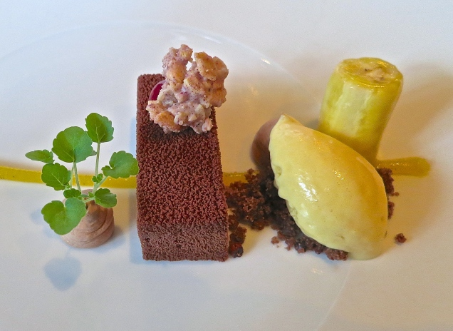 The Dessert Course Of Dark Chocolate With Passion Fruit Ice Cream And Tahiti Vanilla Panna Cotta