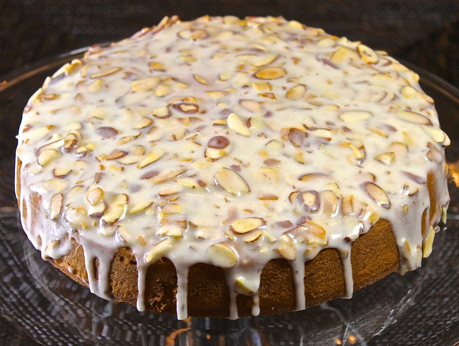 almond cake with brown butter glaze