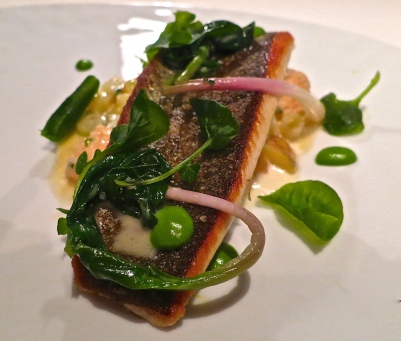 Sautéed Trout With Baby Leeks, Yellow Potatoes, Lobster Boudin, Smoked Trout Cream, Watercress And Wilted Ramps
