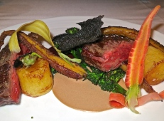 Calotte Steak With Roasted Baby Carrots, Fondant Potato, Cipollini Onion And Black Garlic Béchamel