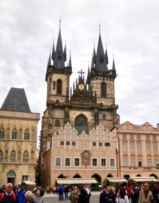 The Towers Of Tyn Church Above Ancient Buildings Of Old Town Square