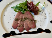 Maple Smoked Duck Breast With Onion Marmalade And Green Pepper