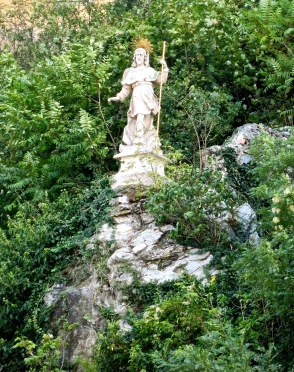 Statue On The Rock Outcrop Below Melk Abbey