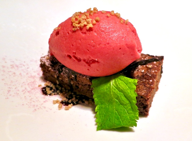 Brownie With Raspberry Sorbet