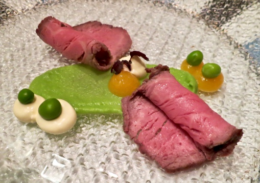 Beef With Cream Of Peas Ricotta And Cress