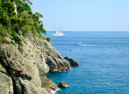 The Blue Mediterranean Waters From The Cliffs Of Portofino