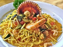 This Pasta And Seafood Dish Is Perfect With A Glass Of Bardolino Wine