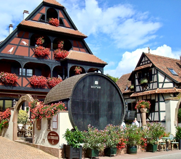 Huge Wine Barrel At A Hotel In Alsace