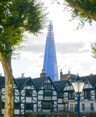 the shard and the queen's house at the Tower of London