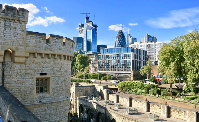 The Tower Of London And The Gherkin Building In The Distance