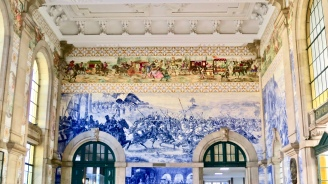 Tile Murals Cover The Walls Of The Porto Train Station