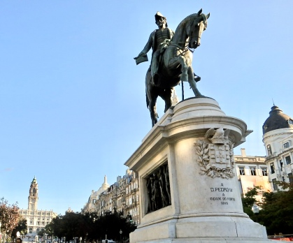King Pedro IV In Liberty Square With Town Hall In The Background