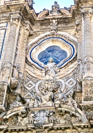 Carved Details On Entrance Of Cathedral of San Salvador