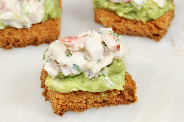 Mini Avocado Toast With Lobster Salad