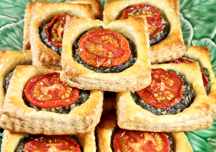 goat cheese, spinach and tomato tarts
