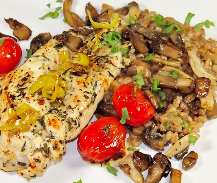 chicken with mushroom farro risotto