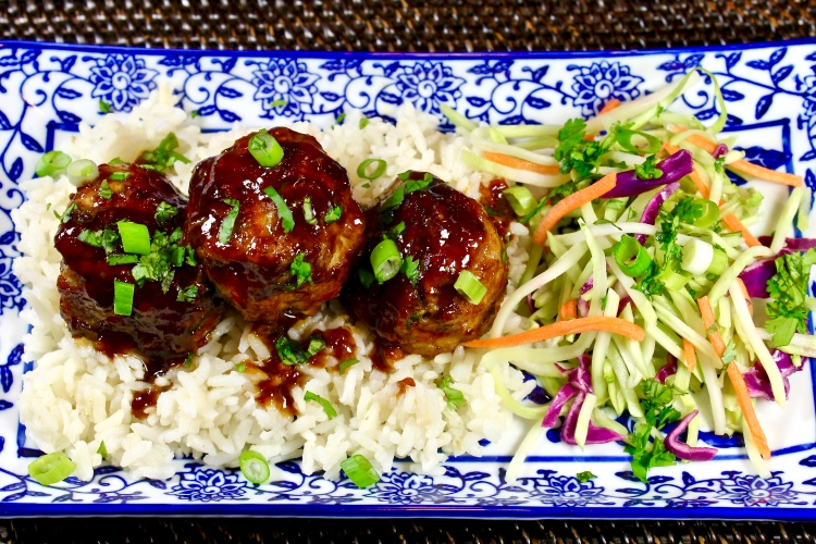 sweet and spicy asian pork meatballs