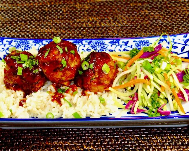 sweet spicy asian pork meatballs