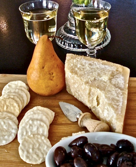 olives, cheese, fruit and wine