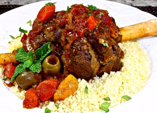 lamb shanks with olives and apricots