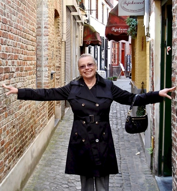 narrow street in bruges, belgium