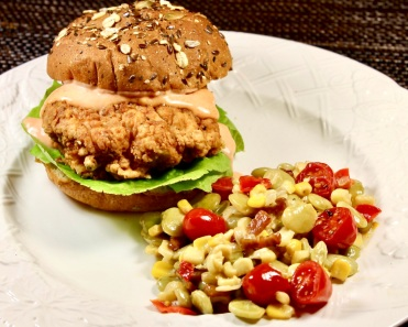summer succotash with crispy fried chicken sandwich